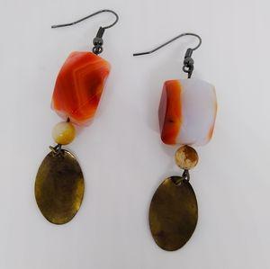 Handmade Red Agate and Bronze gemstone earrings